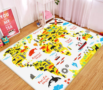 3D Color Country 235 World Map Non Slip Rug Mat