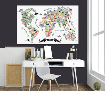 3D Color Painting 234 World Map Wall Sticker