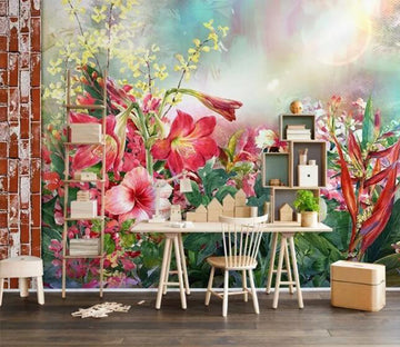 3D Red Flowers WC098 Wall Murals