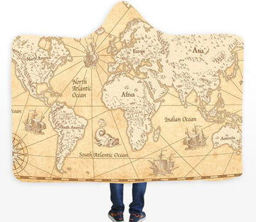 3D Yellow World Map 340 Hooded Blanket