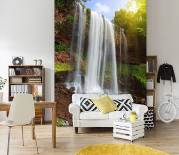 3D Waterfall Sunlight 1550 Wall Murals