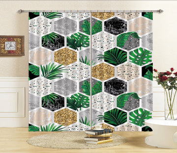 3D Hexagonal Plant Pattern 75 Curtains Drapes