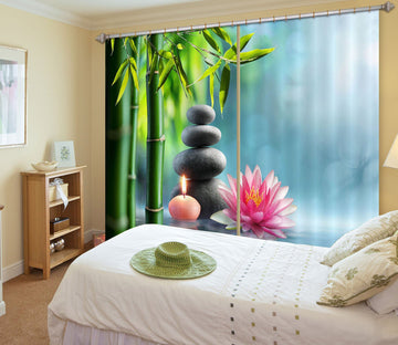 3D Bamboo Forest Lotus 115 Curtains Drapes Wallpaper AJ Wallpaper
