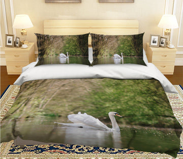 3D White Swan 2009 Bed Pillowcases Quilt