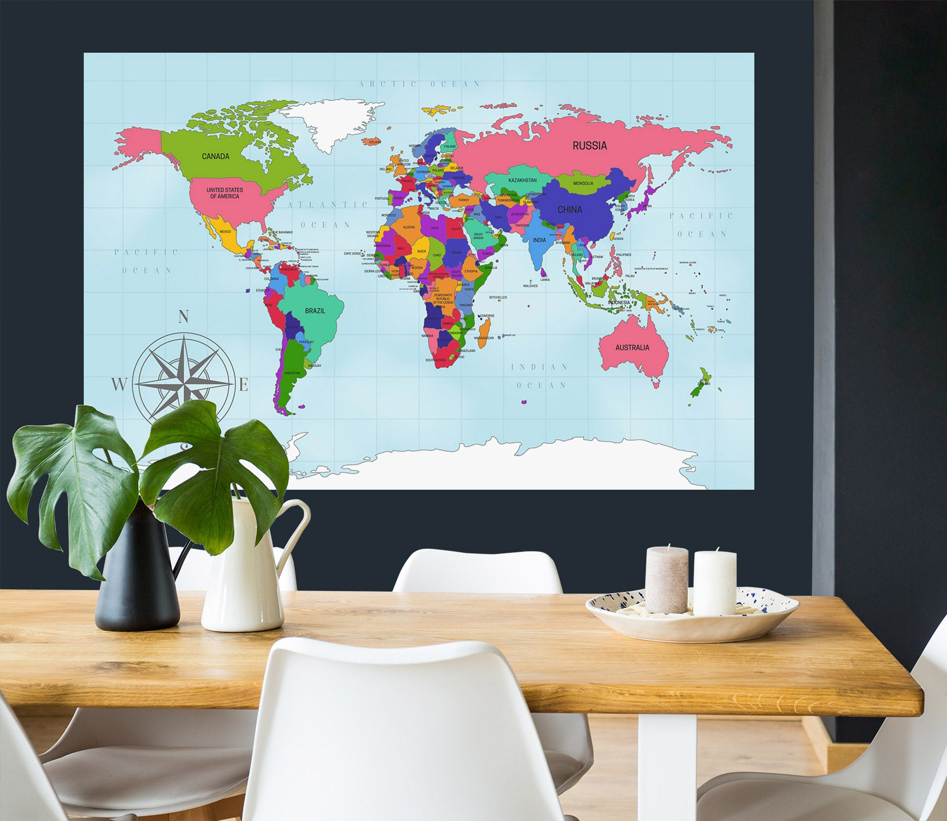 3D Color Pattern 297 World Map Wall Sticker