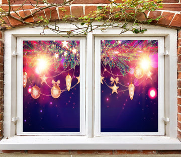3D Light Post 42199 Christmas Window Film Print Sticker Cling Stained Glass Xmas
