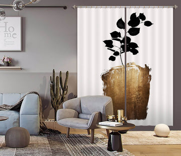 3D Golden Flowerpot Leaves 1107 Boris Draschoff Curtain Curtains Drapes