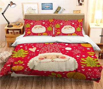 3D Christmas Happy Old Man 44 Bed Pillowcases Quilt