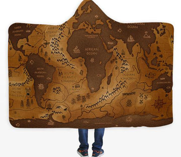 3D Retro World Map 333 Hooded Blanket