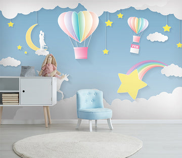 3D Balloon Moon WC038 Wall Murals