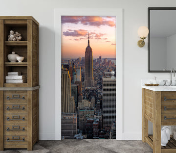 3D Sunset City Building 156 Door Mural