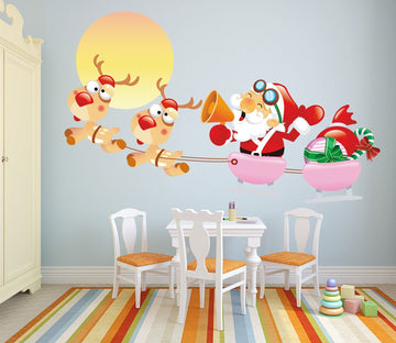3D Big Deer Sleigh 33 Wall Stickers Wallpaper AJ Wallpaper