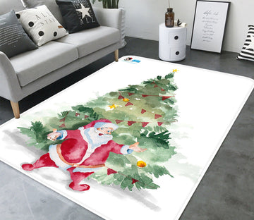 3D Santa Claus Decoration 045 Non Slip Rug Mat Mat AJ Creativity Home