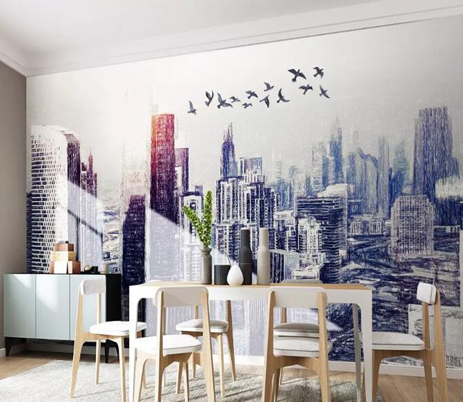 3D City Bird 685 Wall Murals
