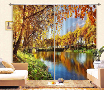 3D Autumn Lake 867 Curtains Drapes Wallpaper AJ Wallpaper