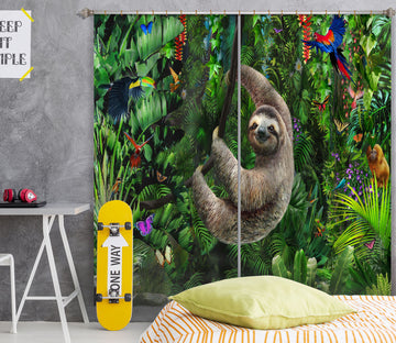 3D Forest Sloth 067 Adrian Chesterman Curtain Curtains Drapes