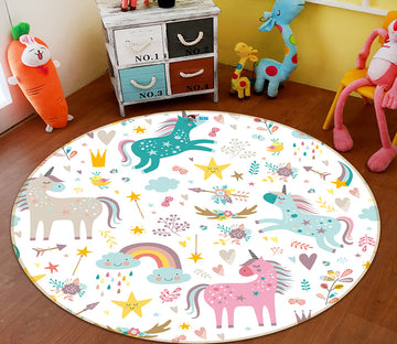 3D Color Unicorn 64170 Round Non Slip Rug Mat