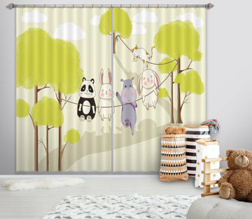 3D Animal Forest 733 Curtains Drapes Wallpaper AJ Wallpaper