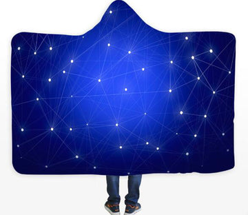 3D Blue Stars 299 Hooded Blanket