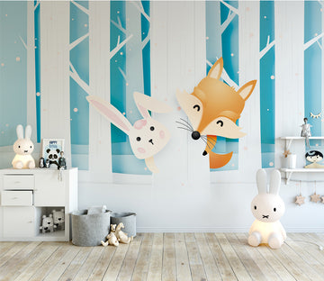3D Fox Bunny WC040 Wall Murals
