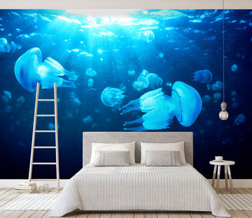 3D Blue Jellyfish 124 Wall Murals