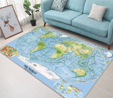 3D Sea Island 324 World Map Non Slip Rug Mat