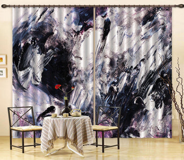 3D Abstract Black Painting 13 Curtains Drapes Curtains AJ Creativity Home