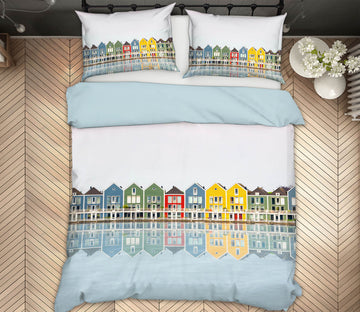 3D Coloured Houses 023 Marco Carmassi Bedding Bed Pillowcases Quilt
