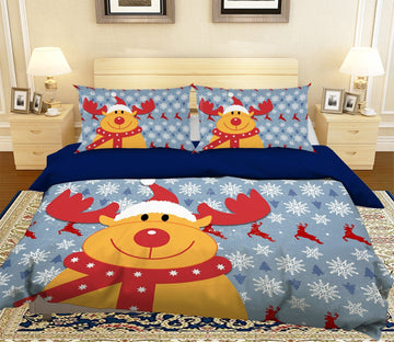 3D Christmas Cartoon Cute Deer 42 Bed Pillowcases Quilt Quiet Covers AJ Creativity Home