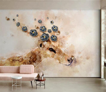 3D Flower Deer WC201 Wall Murals