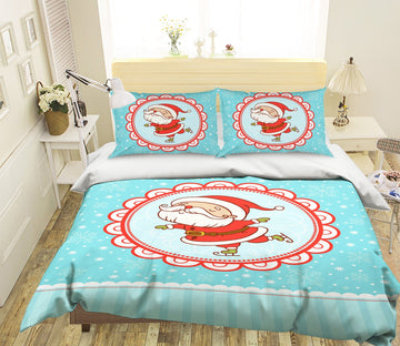 3D Christmas Lace White Beard 33 Bed Pillowcases Quilt