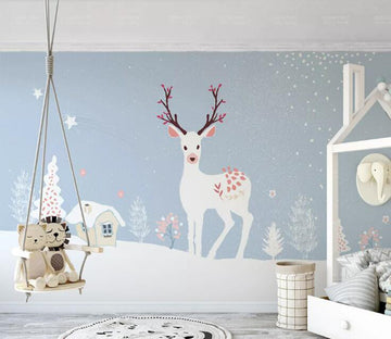 3D Heavy Snow Fawn WC128 Wall Murals