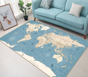3D White Clouds 316 World Map Non Slip Rug Mat
