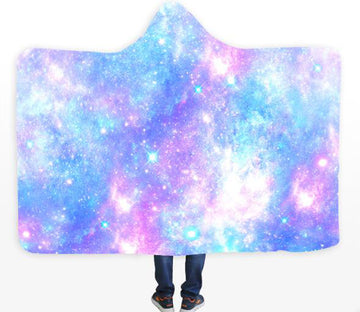 3D Blue Galaxy 126 Hooded Blanket