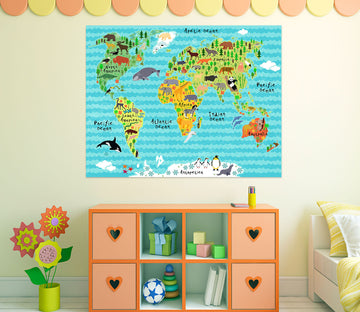 3D Colored Land 206 World Map Wall Sticker