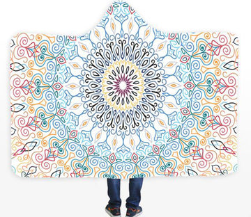 3D Line Round 090 Hooded Blanket