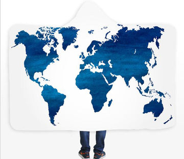 3D Blue Ink Map 582 Hooded Blanket