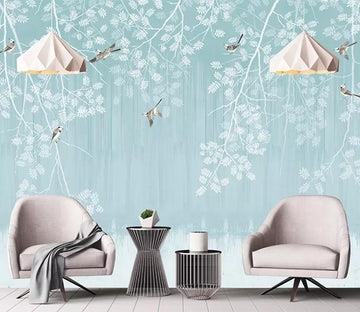 3D White Leaves 345 Wall Murals