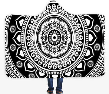 3D Black Floral Circle 756 Hooded Blanket