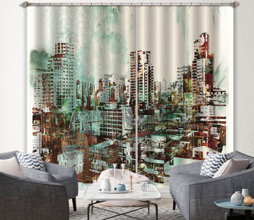 3D Green City Painting 029 Curtains Drapes