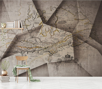 3D Paper Map WC475 Wall Murals