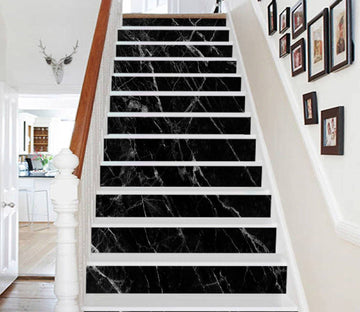 3D Classic Black 884 Marble Tile Texture Stair Risers Wallpaper AJ Wallpaper