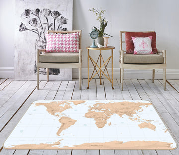 3D Abstract Art 321 World Map Non Slip Rug Mat