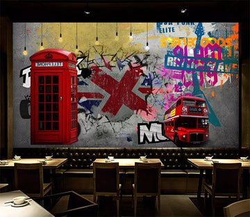 3D Red Bus 1226 Wall Murals