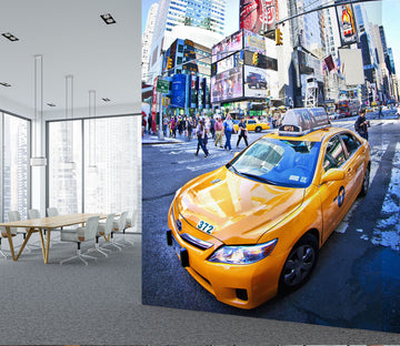 3D City Taxi 444 Vehicle Wall Murals