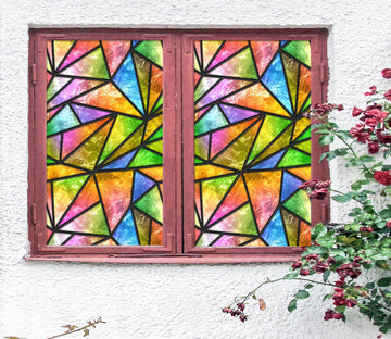 3D Watercolor Triangle 196 Window Film Print Sticker Cling Stained Glass UV Block