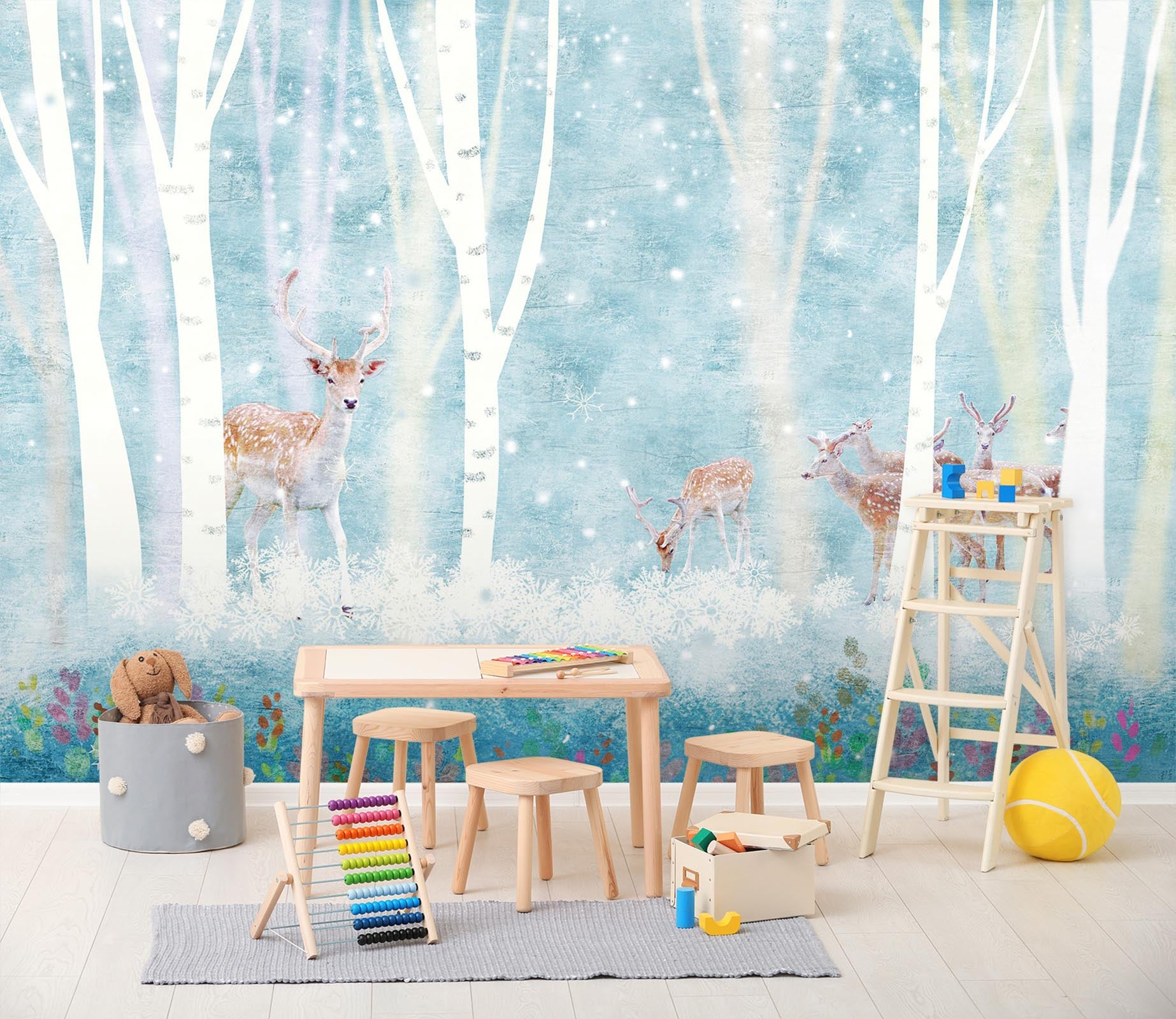 3D Forest Sika Deer 045 Wall Murals