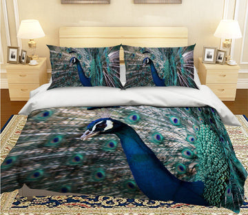 3D Opening Tail Peacock 1982 Bed Pillowcases Quilt