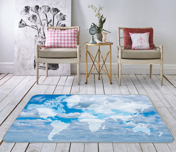 3D Clear Sky 300 World Map Non Slip Rug Mat