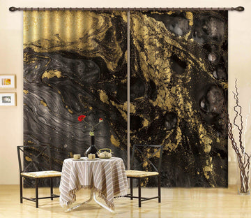 3D Black Gold Abstract 78 Curtains Drapes